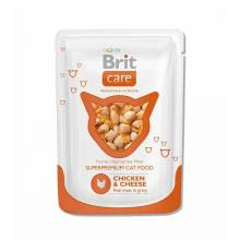Паучи Brit Care Chicken & Cheese для кошек с курицей и сыром 24 x 80 гр.