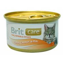 Консервы для кошек Brit care tuna,carrot & pea с тунцом, морковью и горошкам 48 шт х 80 гр