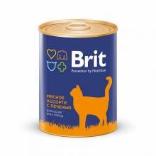 Консервы Brit Premium Beef and Liver Medley для кошек всех пород мясное ассорти с печенью - 0,34 кг х 12 шт