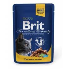 Brit Premium Chicken & Turkey влажный корм с кусочками курицы и индейки 24 шт х 100 гр