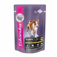 Влажный корм Eukanuba Dog Puppy для щенков с курицей в соусе в паучах - 100 г х 24 шт