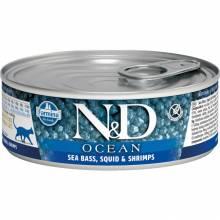 Farmina N&D Ocean влажный корм для взрослых кошек с сибасом, кальмаром и креветками - 80 г х 12 шт