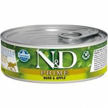 Farmina N&D Prime влажный корм для взрослых кошек с мясом кабана и яблоком - 80 г х 12 шт