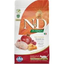 Farmina N&D Cat Grain Free pumpkin neutered quail для стерилизованных кошек с перепелом и тыквой 1,5 кг