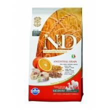 Farmina N&D Low Grain Dog Codfish&Orange Adult сухой корм для взрослых собак низкозерновой с треской и апельсином 2,5 кг (12 кг)
