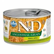 Влажный корм Farmina N&D низкозерновой для взрослых собак мелких пород с мясом кабана и яблоком - 140г х 6шт