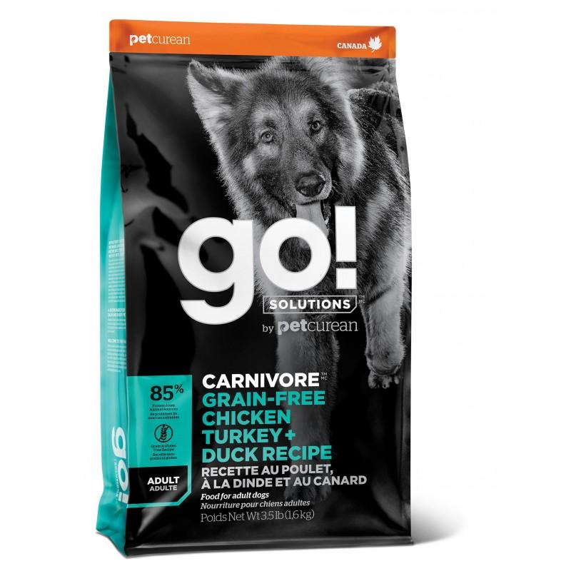 GO! Carnivore GF Chicken,Turkey + Duck Adult Сухой беззерновой корм для взрослых собак всех пород 4 вида мяса: индейка, курица, лосось, утка 1,59 кг (5,45 кг) (10 кг)