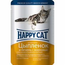 Happy Cat паучи для взрослых кошек с цыпленком и печенью в желе - 100 г х 22 шт