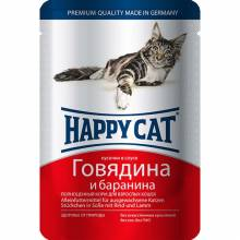 Happy Cat Говядина и Баранина паучи для взрослых кошек любых пород - 100 г х 22 шт