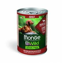 Monge BWild Grainfree Dog Adult влажный беззерновой корм для взрослых собак с ягненком, тыквой и кабачками в консервах - 400 г х 24 шт