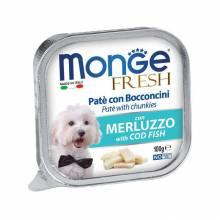Влажный корм Monge Dog Fresh для взрослых собак с треской в ламистерах - 100 г х 32 шт