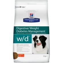 Hill's Prescription Diet w/d Digestive/Weight Management корм для собак диета для поддержания оптимального веса при сахарном диабете с курицей 1,5 кг (12 кг)