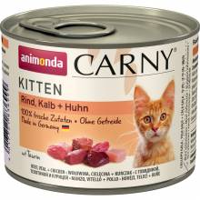 Animonda Консервы Carny Kitten с говядиной, телятиной и курицей для котят - 200 гр х 6 шт