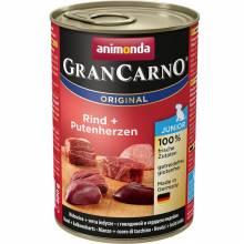 Консервы Animonda Gran Carno Original Junior с говядиной и сердцем индейки для щенков и юниоров - 400 гр х 6 шт