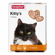 Beaphar Kitty's витаминизированное лакомство-сердечки для кошек с протеином - 75 таблеток