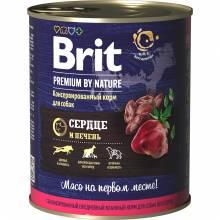 Brit Premium by Nature влажный корм для собак с сердцем и печенью 850 г х 6 шт