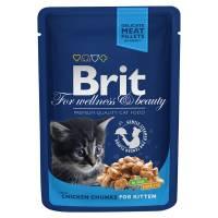 Brit Premium Chicken Chunks for Kitten влажный корм с кусочками курицы для котят 24 шт х100 гр