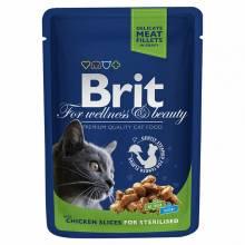 Brit Premium Chicken Slice for Sterilize влажный корм для стерилизованных кошек с курицей 24 шт х 100 гр
