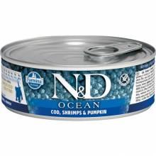 Farmina N&D Ocean влажный корм для котят с треской, креветками и тыквой - 80 г х 12 шт