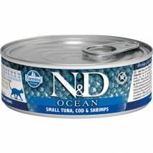 Farmina N&D Ocean влажный корм для взрослых кошек с тунцом и креветками - 80 г х 12 шт