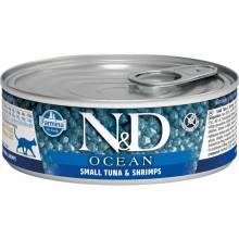Farmina N&D Ocean влажный корм для взрослых кошек с тунцом, треской и креветками - 80 г х 12 шт