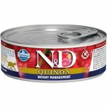 Farmina N&D Weight Management влажный корм для взрослых кошек для контроля веса с киноа и ягненком - 80 г х 12 шт