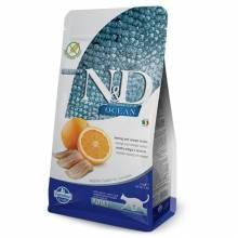Farmina N&D Ocean сухой корм для взрослых кошек с сельдью и апельсином 1,5 кг