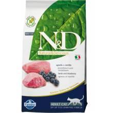 Farmina N&D Grain-Free Feline Lamb & Blueberry Adult сухой корм с ягненком и черникой для взрослых котов или кошек - 1,5 кг (5 кг) (10 кг)