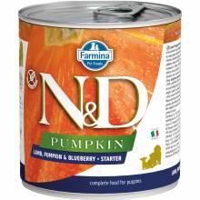 Farmina N&D влажный корм для щенков в период отлучения с тыквой, ягненком и черникой - 285 г х 6 шт
