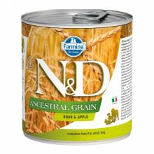 Влажный корм Farmina N&D низкозерновой для взрослых собак с мясом кабана и яблоком - 285г х 6шт