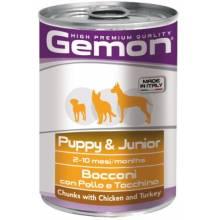 GEMON dog для щенков с кусочками курицы и индейки 24 шт х 415 гр