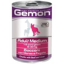 Консервы GEMON Adult Medium для взрослых собак средних пород с кусочками говядины и печени 415 гр х 24 шт