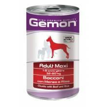 Gemon Dog Maxi консервы для собак крупных пород кусочки говядины с рисом - 1250 гр х 12 шт