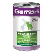 Gemon Dog Medium консервы для собак средних пород кусочки ягненка с рисом - 1250 гр х 12 шт
