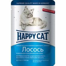 Happy Cat Лосось паучи для взрослых кошек любых пород - 100 г х 22 шт