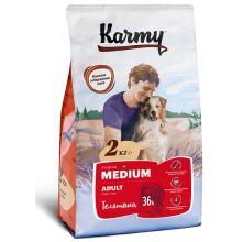 Karmy Medium Adult сухой корм для собак средних пород в возрасте старше 1 года с телятиной (2 кг) (15 кг)