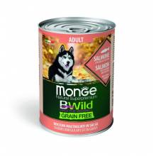 Monge BWild Grainfree Dog Adult влажный беззерновой корм для взрослых собак с лососем, тыквой и кабачками в консервах - 400 г х 24 шт