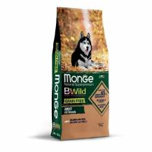 Monge Dog BWild Grain Free сухой беззерновой корм для взрослых собак из лосося и гороха - 12 кг - 2,5 кг (12 кг)