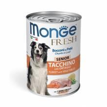 Monge Dog Fresh влажный корм для пожилых собак с мясным рулетом из индейки и овощей в консервах - 400 г х 24 шт