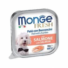 Влажный корм Monge Dog Fresh для взрослых собак с лососем в ламистерах - 100 г х 32 шт