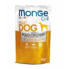 Monge Dog Grill Pouch паучи для собак курица с индейкой 100 гр х 24 шт