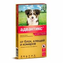 Капли Адвантикс от блох, клещей и комаров для собак весом от 10 до 25 кг - 1 пипетка