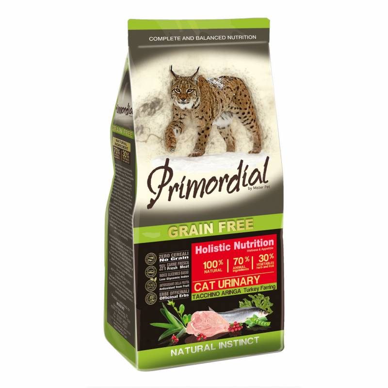 Primordial Сухой беззерновой корм для взрослых кошек при МКБ с индейкой и сельдью 2 кг