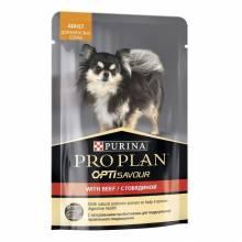 Влажный корм Purina Pro Plan Small & Mini для взрослых собак миниатюрных и мелких пород c говядиной в соусе в паучах - 100 г х 24 шт