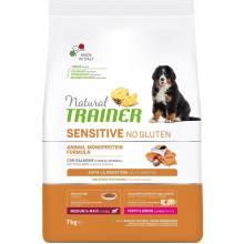 Trainer Natural Sensitive сухой корм для щенков и юниоров средних и крупных пород без глютена c лососем и цельными злаками - 7 кг
