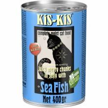 KiS-KiS Canned Food Beef влажный корм для кошек с морской рыбой - 400 г х 12 шт